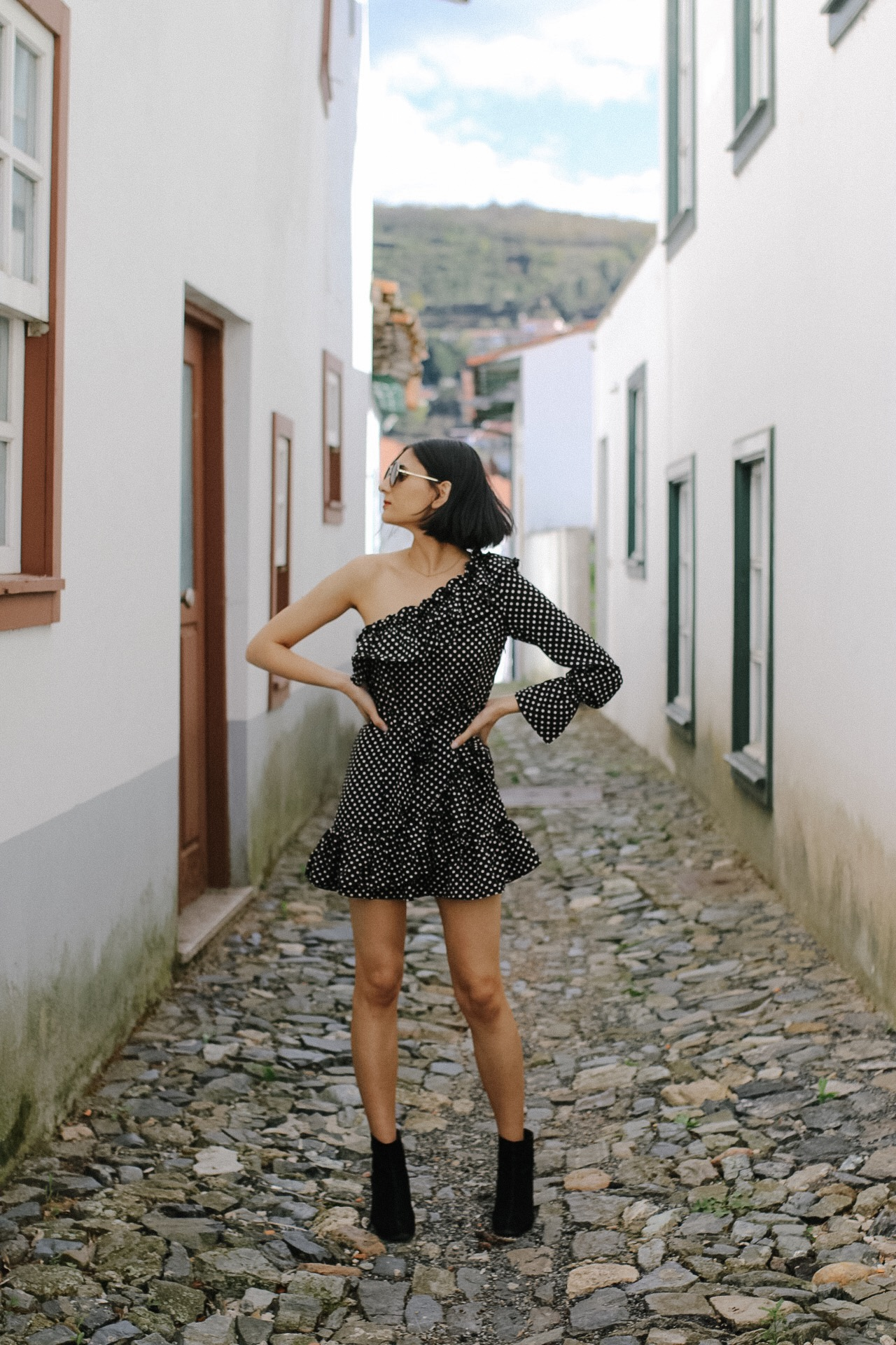 A Polka Dot & Ruffle Dress In Portugal