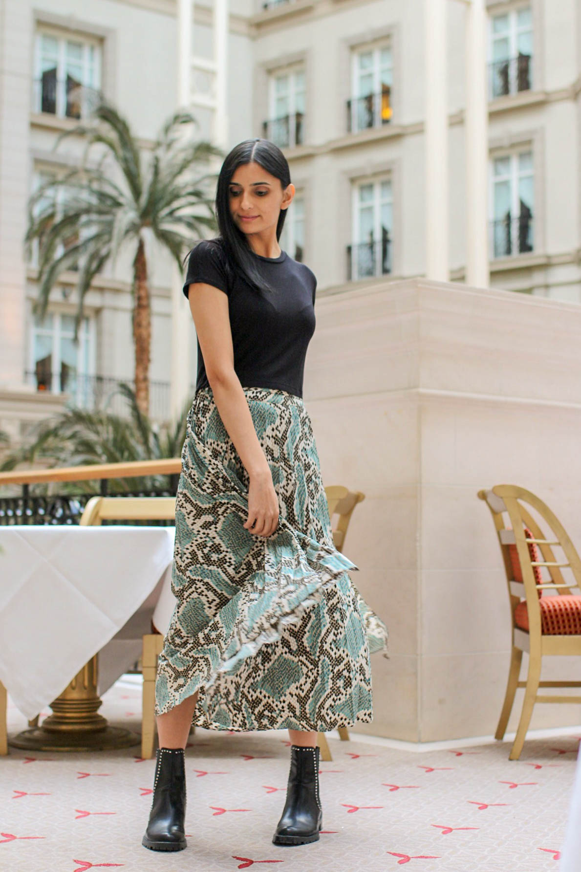 Dreaming Of Sun In A Python Pleated Skirt